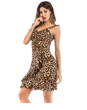 2019 Women strap sleeveless Dress Sexy Leopard Ruffles Dress Summer Party Lady Backless Mini Dress 630