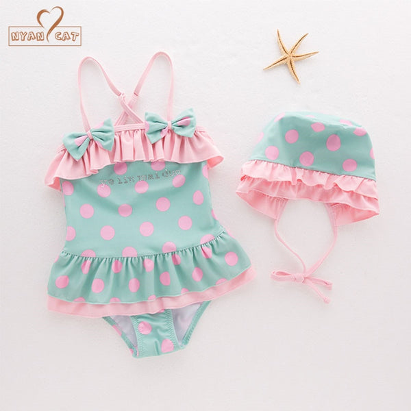 Swimwear Infant Toddler Kids Childrens Swan Applique Swimwear Hat 2PCS Set