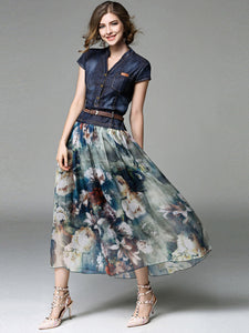 Women Denim Floral Dress Patchwork Summer Belt Button Casual Vocation Dresses Boho Office Chiffon Jean Elegant Midi Long Dress