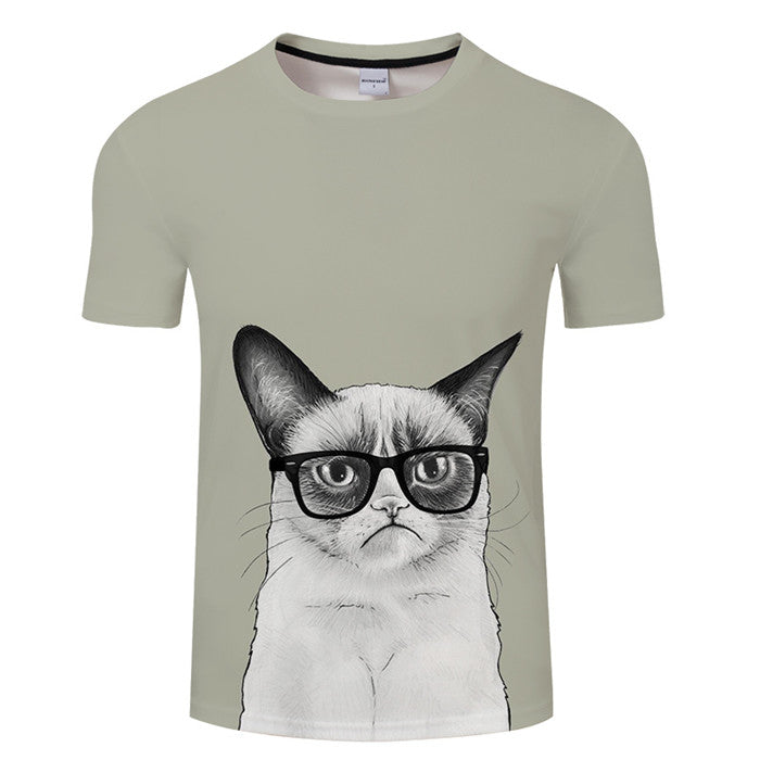 Fashion new 3D animal pet cat print T-shirt female harajuku style top T-shirt female O collar short sleeve T-shirt Blusa