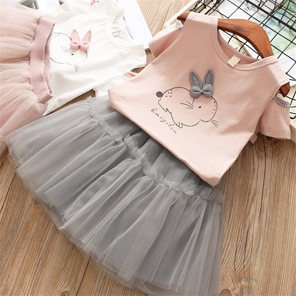 Children's Clothing Girls Suit Bunny Off-shoulder T-shirt + Tutu Skirt 2pcs Top Dress Kids Sets Casual Outfits Baby Girl Clothes