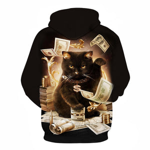2019 black and white cat 3D Pouplar hoodie