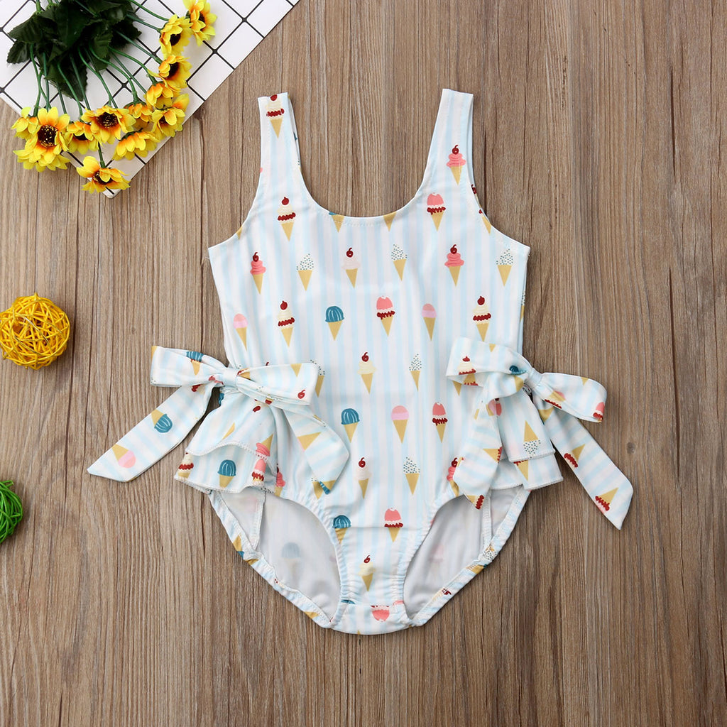 Kid Baby Girl Swimwear Summer Holiday Ice Cream Bow  Swimsuit Swimming Clothes