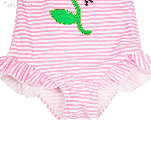 Baby Girls one piece Swimwear with Pink Striped Pattern 1-8 Y Kids Swimming
