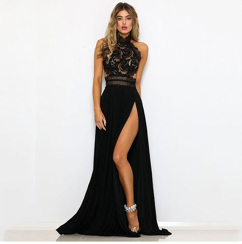 Sexy Women Sleeveless Summer Dress Halter Neck Lace Crochet Evening Maxi Long Dress Backless Party Dresses Vestido