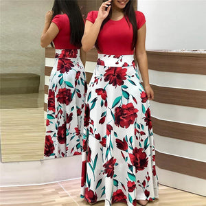 Women Summer Long Dress Floral Print Bohemian Beach Maxi Dress Casual Patchwork Short Sleeve Party Dresses