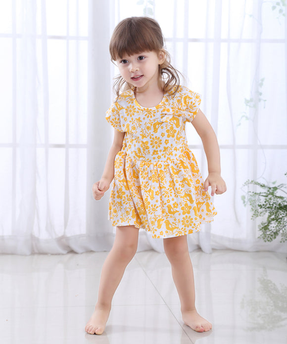 2019 Fashion Baby Girl Dress Frock Baby Girls Short Sleeve Set One Piece in Cotton for Summer