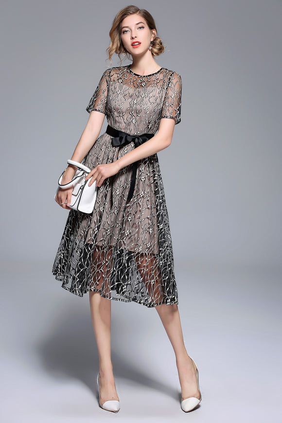 Summer Bow Dresses Women's Fashion Slim Sexy Vestidos European Short sleeve Casual Office Party Lace Dress