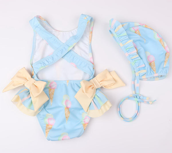 Retail Baby Girls Beautiful Swimming Wear Suits Lovely Flamingo Ice cream Bear Giraffe Swimsuits Child Fashion Swimwear E10002
