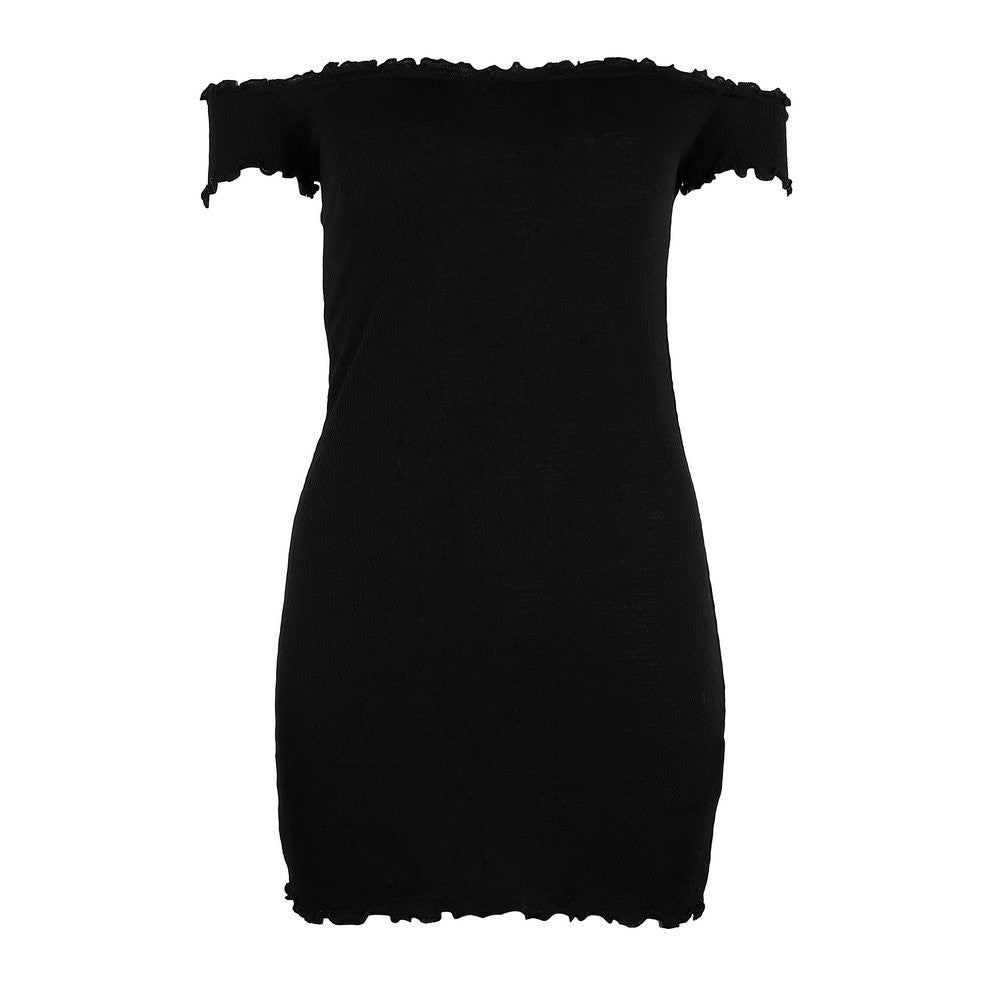 Womens Off Shoulder Mini Dress Ladies Short Sleeve Crimping Party Dress Slash Neck Solid Color High Quality Best Selling