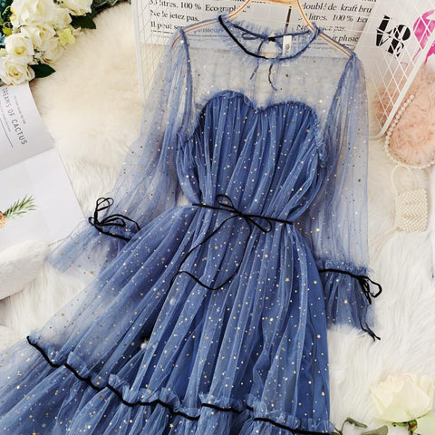 spring summer new women Star sequins gauze flare sleeve high waistline Princess dress female elegant o-neck mesh dresses
