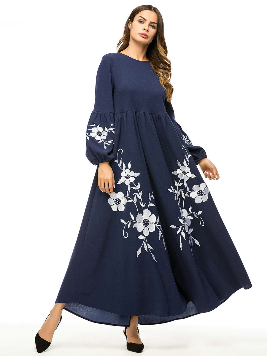 Siskakia Elegant Floral Embroidery Women Long Dress Navy Muslim High Waist Swing A line Dresses Bishop Sleeve Autumn Winter 2019