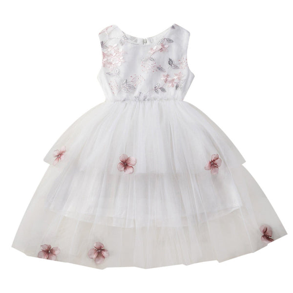 Toddler Girl Summer Princess Dress Kid Baby Sleeveless Party Flower Bow Mesh Wedding Dress cute