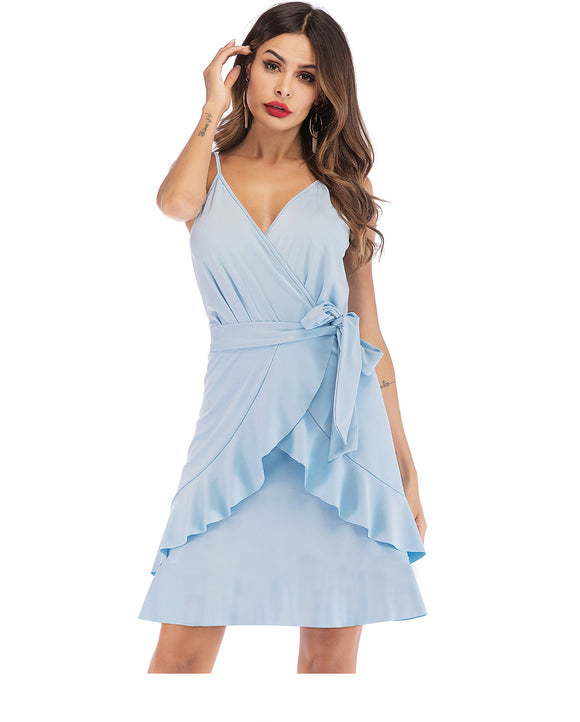 Summer New Fashion Sexy V Neck Belted Wrap Dress Summer Ladies Elegant Solid High Waist Strap Ruffle Mini Dress