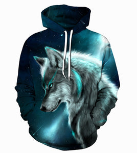 Boys sweatshirts 3D print ice fire wolf children kids animals long sleeve hoodies