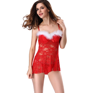 2019 New Fashion Sexy Women Lingerie Nightwear Sheer Lace Backless Spaghetti Strap Nightgown Sleepwear Dress G-String Red