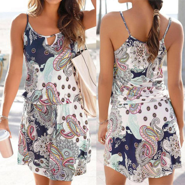 2019 New Style Dress women Casual Bohemia Printed Sleeveless Maxi Party Beach Dress Sundress vestidos de fiesta