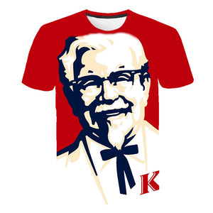 Cool KFC Grandpa Boss 3D Print T shirt Men/Women Hipster Tee Tshirt Boy Hiphop Crewneck White T-shirt Tee Harajuku Big size 5XL
