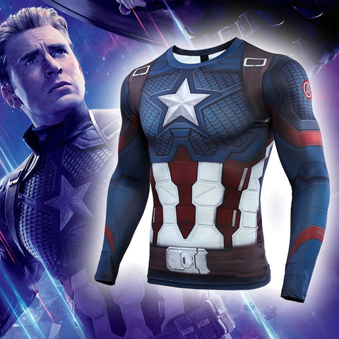 Men's Captain America Compression Tights Long Sleeve Training Workout 3D Avengers Endgame Fitness T Shirts Superhero Apparel