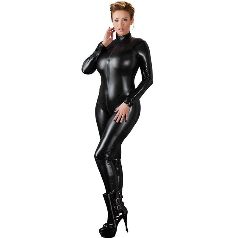 Sexy Faux Leather rompers womens jumpsuit Long Sleeve Zipper Skinny Pants Bodycon Jumpsuit 2019 Teddy Lingerie Catsuit Black
