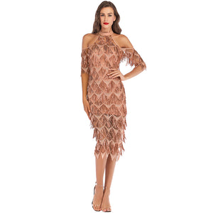 Women Sexy Sequin Dress Sequined Glitter Sheer Mesh Splicing Cold Shoulder Dress High Neck Bodycon Elegant Evening Party Wear