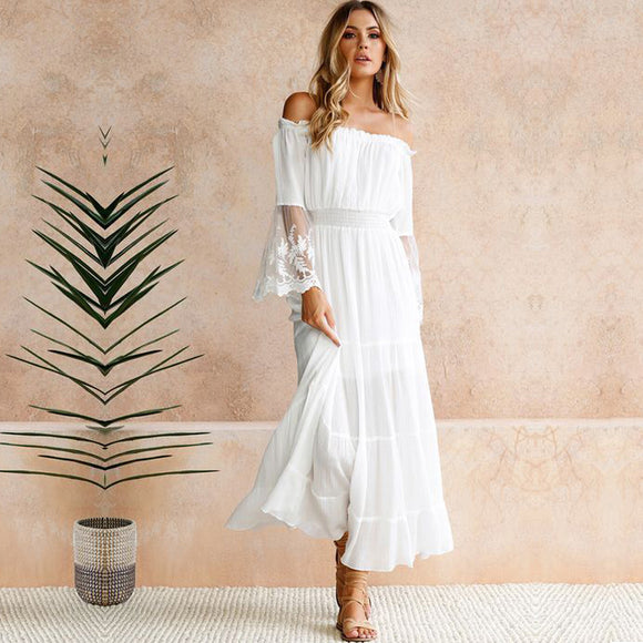 Sexy Women Maxi Long Dress Off Shoulder Crochet Lace Flare Sleeve Beach Dress Elegant Evening Party Boho Dress White Robe Femme