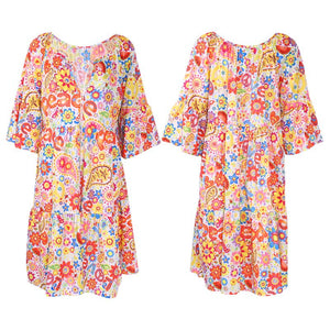 Summer Women Boho Floral Long Sleeve Dress Holiday Beach Shirt Dress Ladies Print Mini Dress Plus Size S-5XL