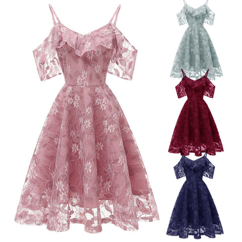 Summer Party Dress Women Clothes 2019 Elegant Cold Shoulder Ladies Lace Dresses Vintage Dress Vestidos Verano