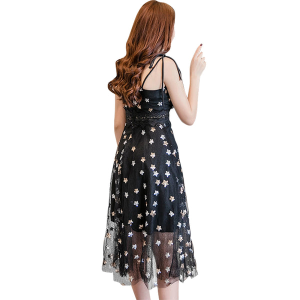 Women Summer Party Dress Glitter Sequined Stars V Neckline Crochet Lace Sleeveless sexy dress Open Back Vacation One-Piece 2019