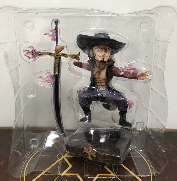 One Piece Chorakol Mihawk Combat Cute Ver. Red Flame Throne PVC Action Figure OP Eagle Eye Luffy Fighter Collectible Model 17cm