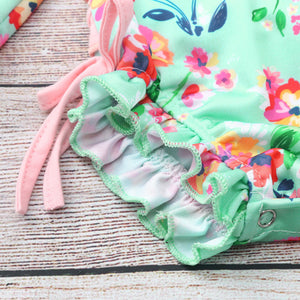 Floral Printed Bikini Swimsuit Kids Beach Floral pleated one-piece swimsuit