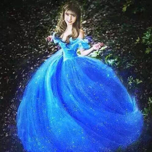 New Blue Fancy Dress Movie Scarlett Sandy Princess Cinderella Dress Off Shoulder Cosplay Costume Adult Girls Dresses