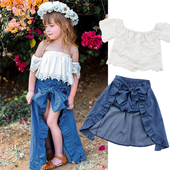 Fashion Toddlers Set Princess Girl Kids Clothing Off Shoulder Lace Tops Ruffles Bowknot Maxi Skirt Children Outfits