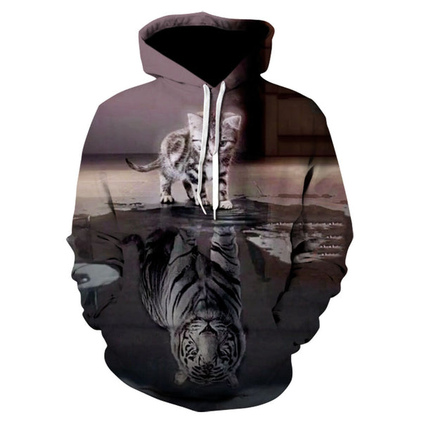2020 women's wear 3D hd printed animal cat line high quality hooded sweatshirt