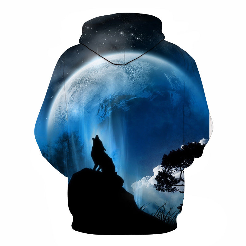 Fashion Galaxy Space 3D Hoodie bright wolf Print Hoodies Sweatshirts Men Unisex