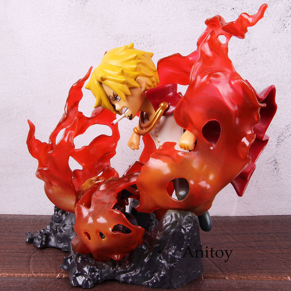 Anime One Piece Figure Highkick Vinsmoke Sanji Trafalgar Law Room with Light PVC Action Figure One Piece Collectible Model Toy