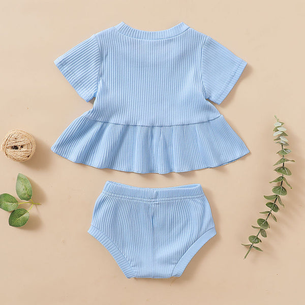 Newborn Baby Girls' Short Sets 0-24M Casual Shorts Sleeve