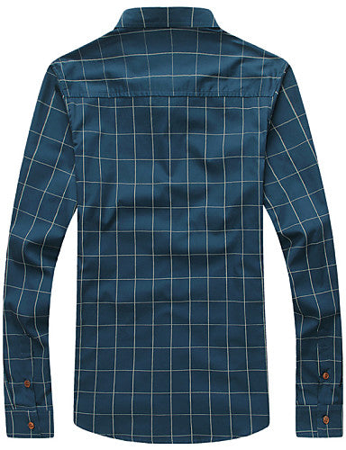 Men's Daily Work Business Plus Size Slim Shirt - Plaid Print Button Down Collar Wine / Long Sleeve / Spring / Fall