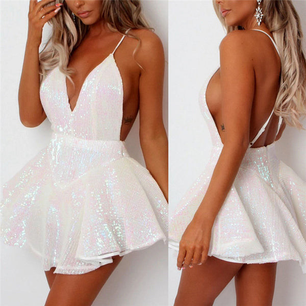 Sexy Women Sequins Glitter Mini Dress New Deep V Neck Sleeveless Backless Party Club Dresses Spaghetti Strap Sparkly Beach Dress