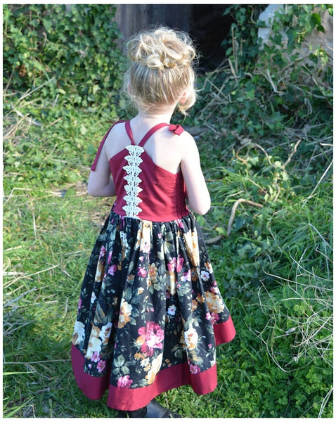 Baby Red Slip Flower Printed Dress For Girls Kids Clothing Dress