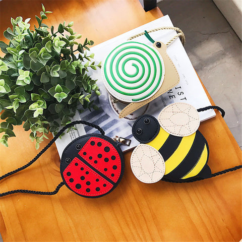 Backpacks Cute Children Girl Bags Bee Ladybug Snails Baby Girl Crossbody mini shoulder bag PU