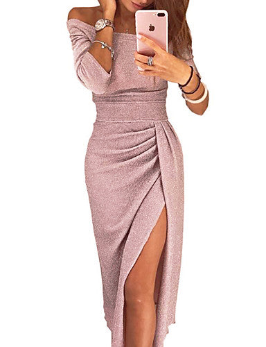 Women's Sophisticated Sheath Dress - Solid Colored Floral Patchwork Off Shoulder Black Blushing Pink Gold S M L XL