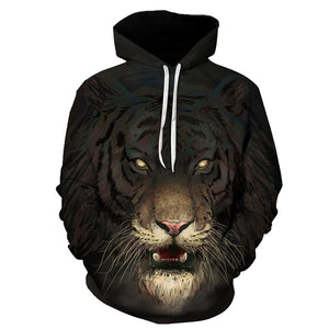 Hot Sale Brand 3D Print Flame Tiger Hoodie Men Sweatshirt