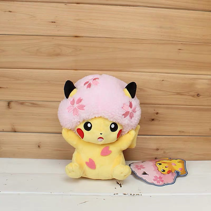 High quality Pikachu Detective Stuffed Toys Japan Anime Game Dolls toys for Boy Cherry blossom head Lady Pikachu Shout Pikachu