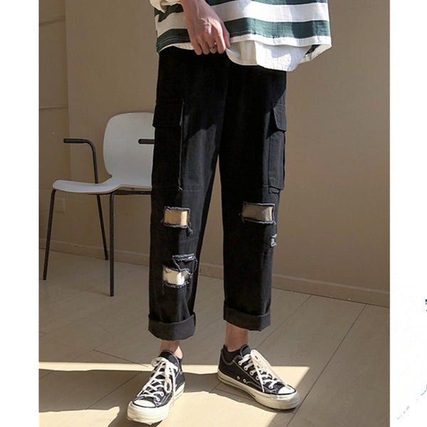 Japanese Style Trousers Sweatpants Streetwear Men Joggers Track Casual Cargo Pants