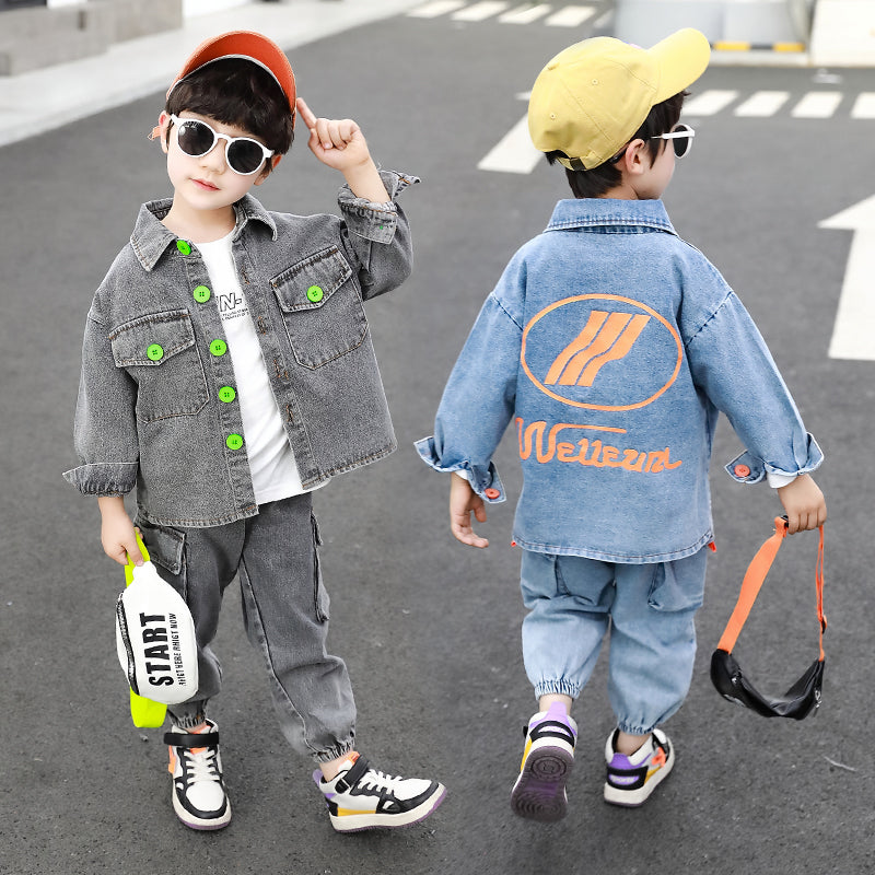 Colorful button print letters two-piece suit comfortable kids clothing boys clothing