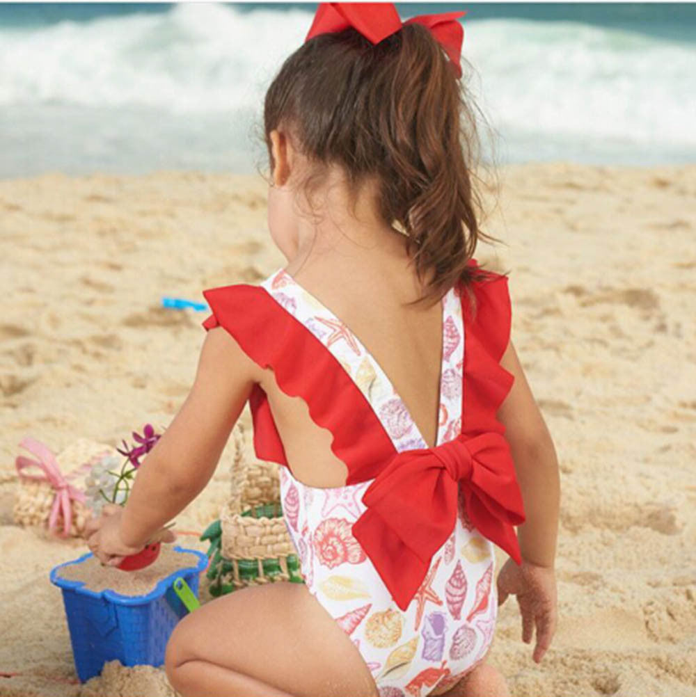 Bowknot Backless Swimwear Bathing Suit kids fashion 2019 toddler girl summer clothes