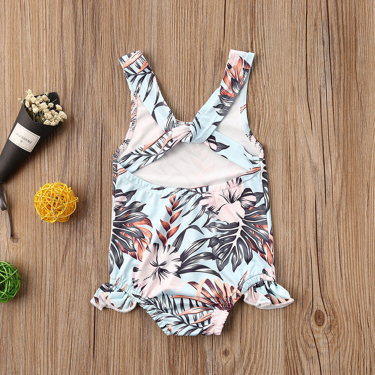 2020 Summer Outfit Clothes Size 0-3TRuffles Floral Print Swimwear/Shorts