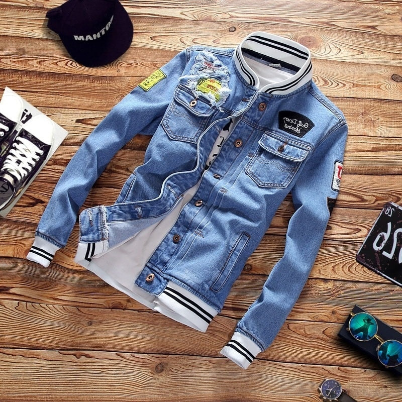Motorcycle Cowboy Trendy Mens Jean Jackets Spring Casual Coat Outwear Stand Collar