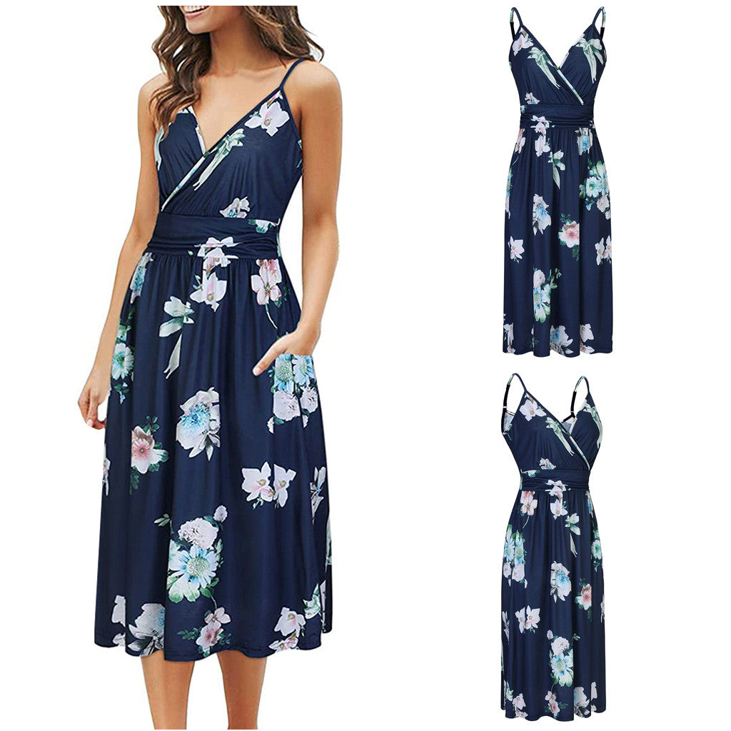 Ladies Fashion V-neck Sexy Sling Print Dress 2020 Dresses For Lady Платье